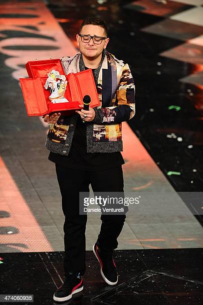 Rocco Hunt attends fourth night of the 64th Festival di Sanremo 2014 at Teatro Ariston on February 21 2014 in Sanremo Italy