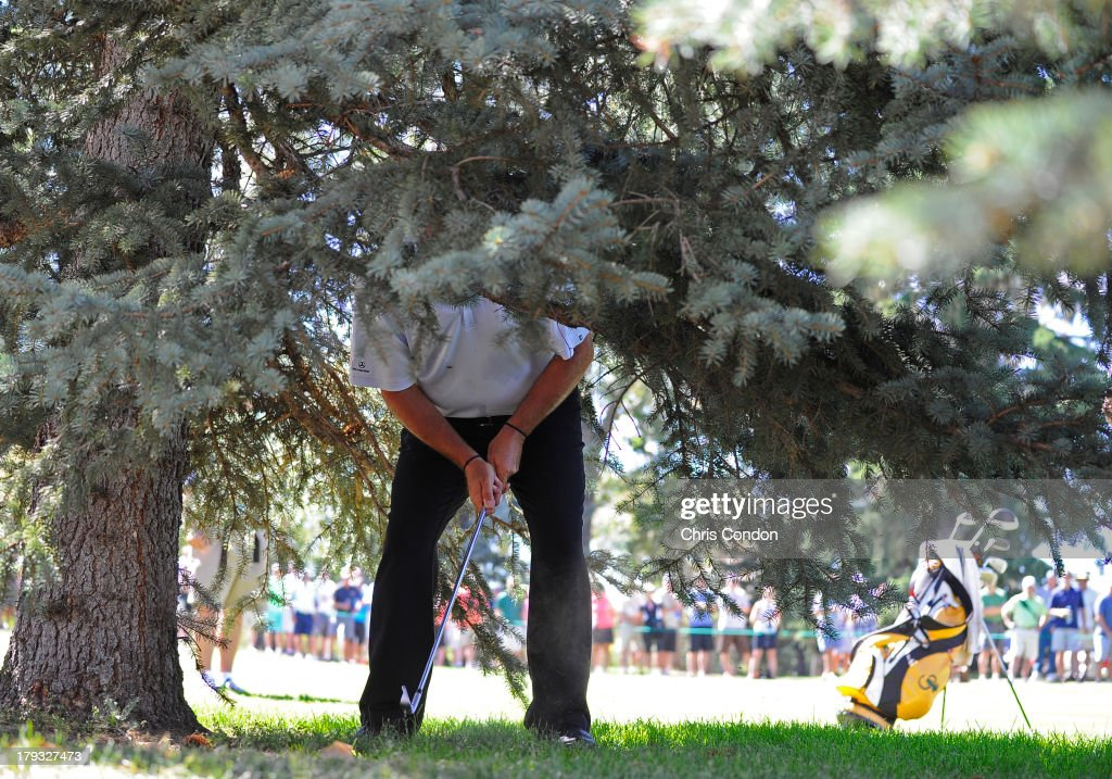 <a gi-track='captionPersonalityLinkClicked' href=/galleries/search?phrase=Rocco+Mediate&family=editorial&specificpeople=220352 ng-click='$event.stopPropagation()'>Rocco Mediate</a> hits from under a tree on the 6th hole during the final round of the Shaw Charity Classic at Canyon Meadows Golf & Country Club on September 1, 2013 in Calgary, Alberta, Canada.
