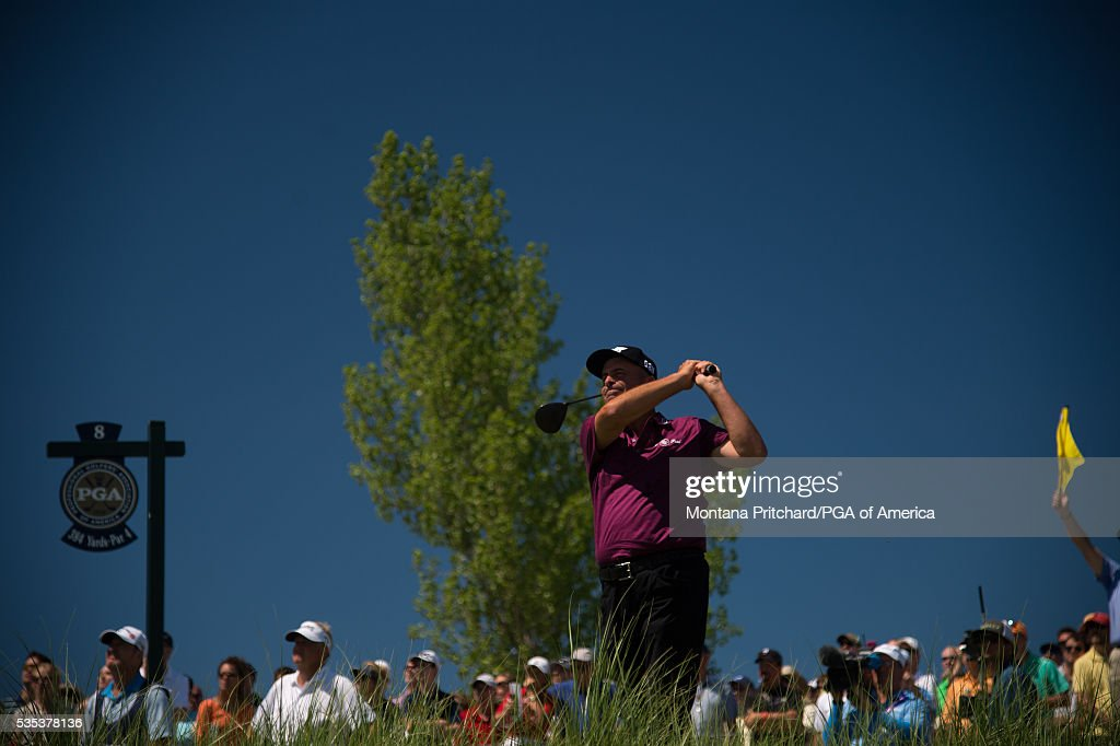 <a gi-track='captionPersonalityLinkClicked' href=/galleries/search?phrase=Rocco+Mediate&family=editorial&specificpeople=220352 ng-click='$event.stopPropagation()'>Rocco Mediate</a> hits his tee shot on the eighth hole during the final round for the 77th Senior PGA Championship presented by KitchenAid held at Harbor Shores Golf Club on May 29, 2016 in Benton Harbor, Michigan.
