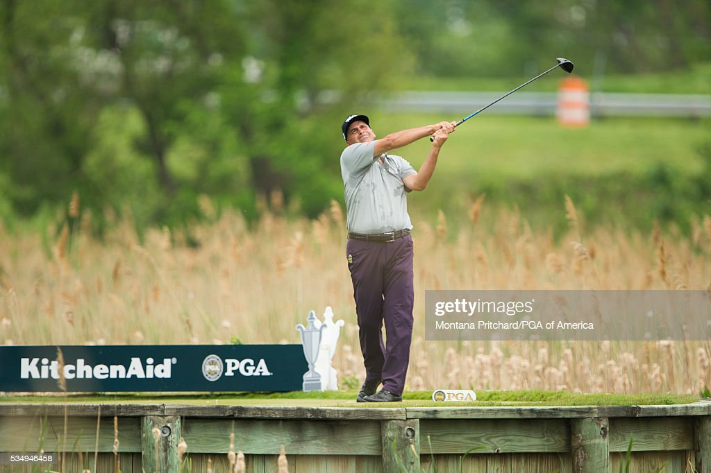 <a gi-track='captionPersonalityLinkClicked' href=/galleries/search?phrase=Rocco+Mediate&family=editorial&specificpeople=220352 ng-click='$event.stopPropagation()'>Rocco Mediate</a> hits his tee shot on the seventh hole during the third round for the 77th Senior PGA Championship presented by KitchenAid held at Harbor Shores Golf Club on May 28, 2016 in Benton Harbor, Michigan.
