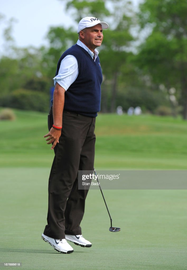 <a gi-track='captionPersonalityLinkClicked' href=/galleries/search?phrase=Rocco+Mediate&family=editorial&specificpeople=220352 ng-click='$event.stopPropagation()'>Rocco Mediate</a> leaps after his putt on the third hole during the second round of the Legends Division at the Liberty Mutual Insurance Legends of Golf at The Westin Savannah Harbor Golf Resort & Spa on April 27, 2013 in Savannah, Georgia.