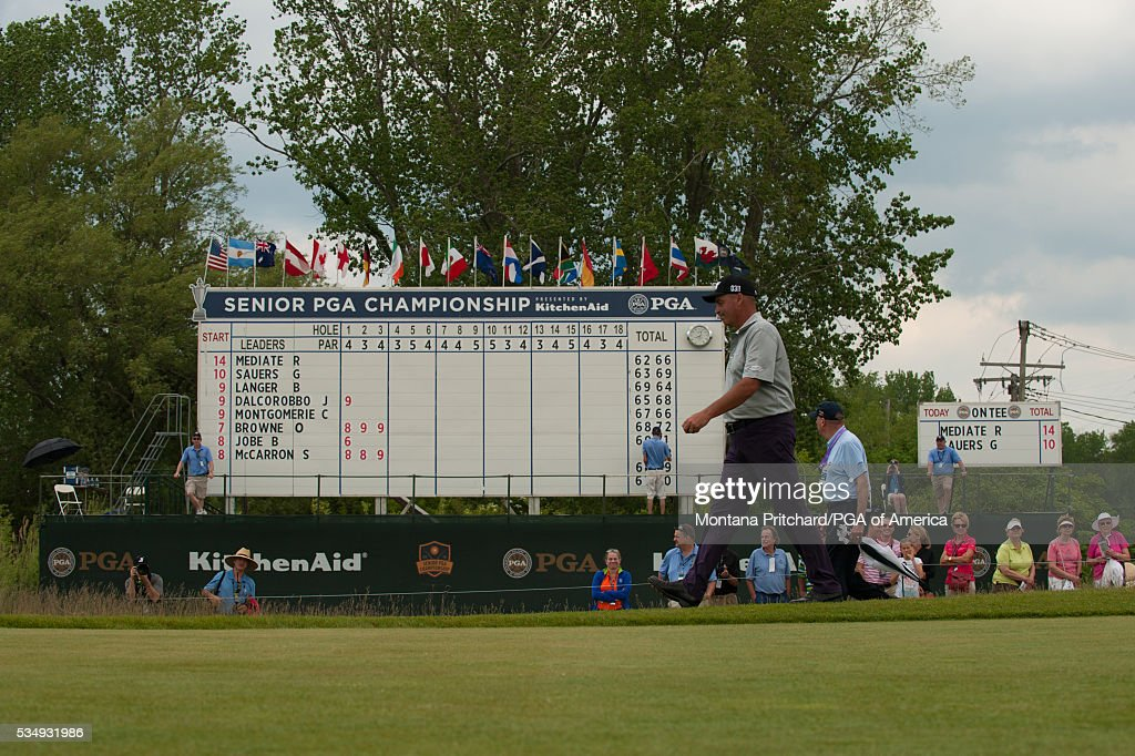 <a gi-track='captionPersonalityLinkClicked' href=/galleries/search?phrase=Rocco+Mediate&family=editorial&specificpeople=220352 ng-click='$event.stopPropagation()'>Rocco Mediate</a> walks on the first hole during the third round for the 77th Senior PGA Championship presented by KitchenAid held at Harbor Shores Golf Club on May 28, 2016 in Benton Harbor, Michigan.