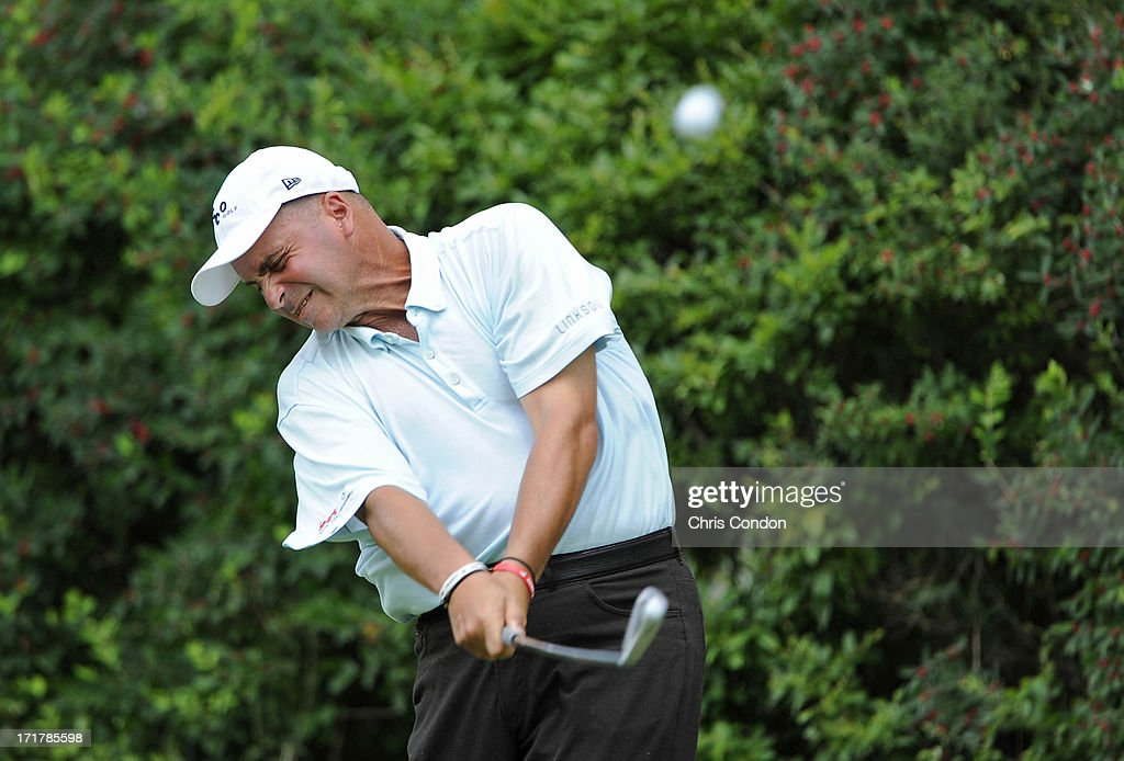 <a gi-track='captionPersonalityLinkClicked' href=/galleries/search?phrase=Rocco+Mediate&family=editorial&specificpeople=220352 ng-click='$event.stopPropagation()'>Rocco Mediate</a> plays from the 6th tee during the second round of the Constellation SENIOR PLAYERS Championship at Fox Chapel Golf Club on June 28, 2013 in Pittsburgh, Pennsylvania.