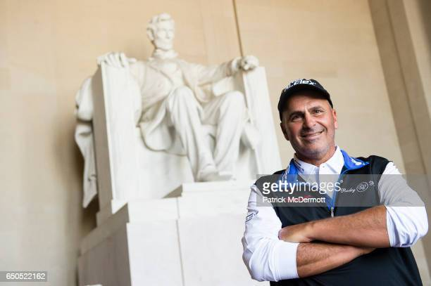 Rocco Mediate poses for a portrait at the Lincoln Memorial during the 78th KitchenAid Senior PGA Championship Media Day on March 9 2017 in Washington...
