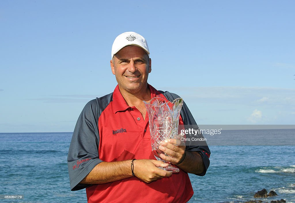 <a gi-track='captionPersonalityLinkClicked' href=/galleries/search?phrase=Rocco+Mediate&family=editorial&specificpeople=220352 ng-click='$event.stopPropagation()'>Rocco Mediate</a> poses with the Rookie of the Year trophy on the 17th tee during the Thursday Pro Am at the Mitsubishi Electric Championship at Hualalai Golf Club on January 16, 2014 in Ka'upulehu-Kona, Hawaii.