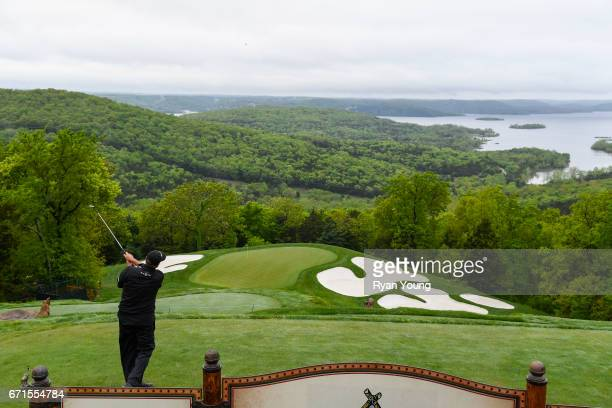 Rocco Mediate tees off on the second hole during the first round of the PGA TOUR Champions Bass Pro Shops Legends of Golf at Big Cedar Lodge at Top...
