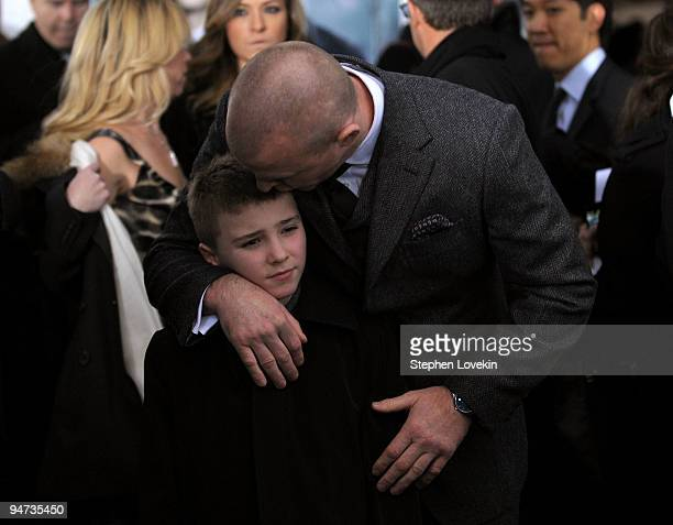 Rocco Ritchie and director Guy Ritchie attend the premiere of 'Sherlock Holmes' at the Alice Tully Hall Lincoln Center on December 17 2009 in New...