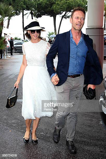 Rocco Siffredi and his wife Rosa Caraccciolo arrive at their Hotel during the 69th Annual Cannes Film Festival on May 11 2016 in Cannes