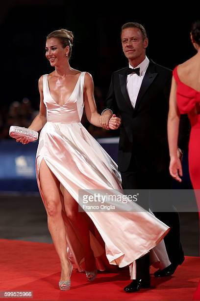 Rocco Siffredi and Rosa Caracciolo attend the premiere of 'Rocco' during the 73rd Venice Film Festival at Sala Perla on September 5 2016 in Venice...