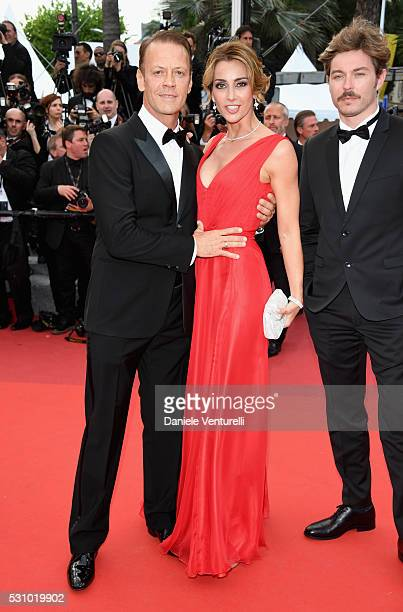 Rocco Siffredi and Rozsa Tassi attend the 'Money Monster' premiere during the 69th annual Cannes Film Festival at the Palais des Festivals on May 12...