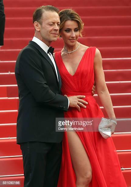Rocco Siffredi and Rozsa Tassi attends the 'Money Monster' premiere during the 69th annual Cannes Film Festival at the Palais des Festivals on May 12...