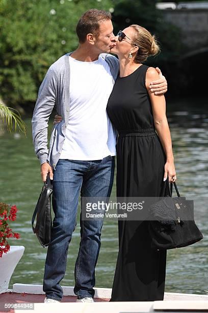 Rocco Siffredi kisses Rosa Caracciolo during the 73rd Venice Film Festival on September 7 2016 in Venice Italy