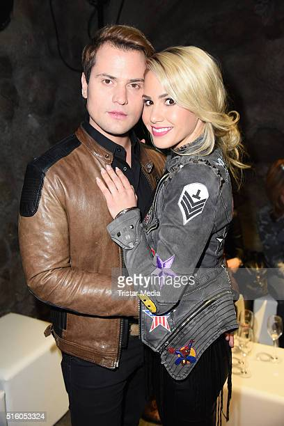 Rocco Stark and Angelina Heger attend the Premiere Of 'Exitus' FreefallTowers At Berlin Dunge on March 16 in Berlin Germany