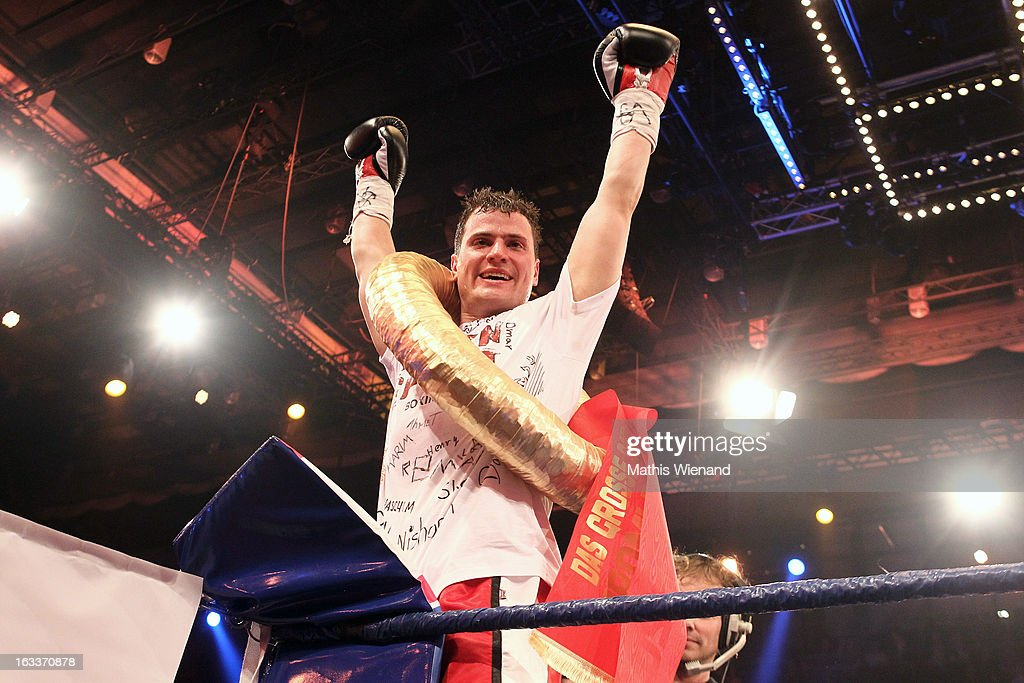 Rocco Stark wins the fight against B-Tight Davis at the 'Das Grosse Sat.1 Promiboxen' at Castello on March 8, 2013 in Dusseldorf, Germany.