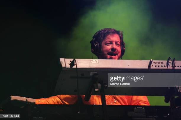 Rocco Tanica keyboardist of pop group Elio E Le Storie Tese during a concert at Bagnoli Arenile