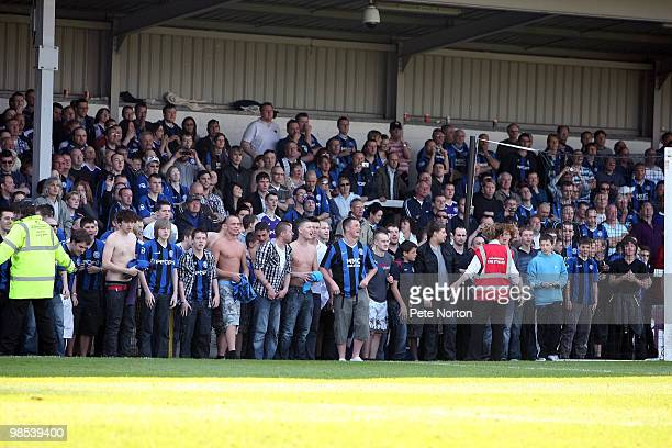 Rochdale fans are seen on the goal line as they prepare to celebrate their club's first promotion for 41 years during the Coca Cola League Two Match...