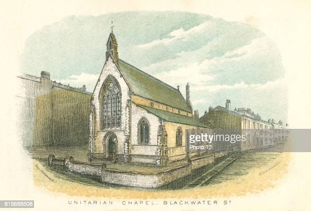 Rochdale Lancashire England Unitarian Chapel and School Blackwater Street From William Robertson 'Rochdale Past and Present' Rochdale 1876...