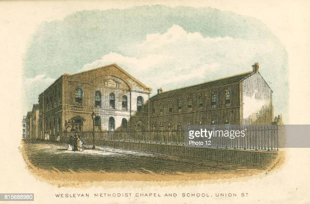 Rochdale Lancashire England Wesleyan Methodist Chapel and School Union Street From William Robertson 'Rochdale Past and Present' Rochdale 1876...