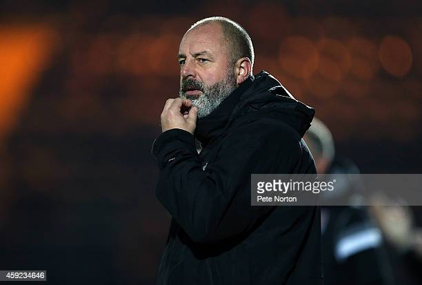 Rochdale manager Keith Hill looks on during the FA Cup First Round Replay between Rochdale and Northampton Town at Spotland Stadium on November 18...