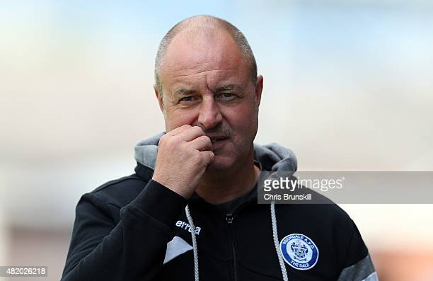Rochdale manager Keith Hill looks on during the pre season friendly match between Rochdale and Huddersfield Town at Spotland on July 18 2015 in...