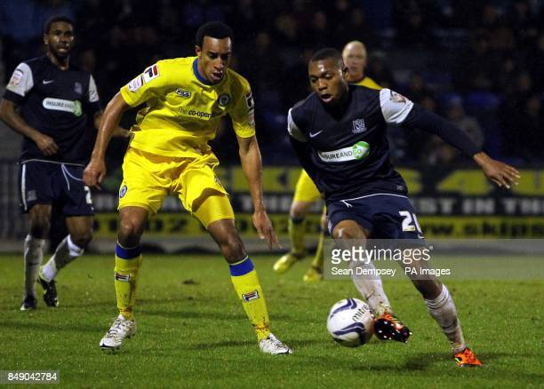 Rochdales Rhys Bennett and Southends Britt Assombalonga battle for the ball during the npower Football League Two match at Roots Hall Southend On Sea