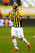 Rochdi Achenteh of Vitesse celebrates his team victory after the Dutch Eredivisie match between Vitesse Arnhem and AZ Alkmaar held at Gelredome on...