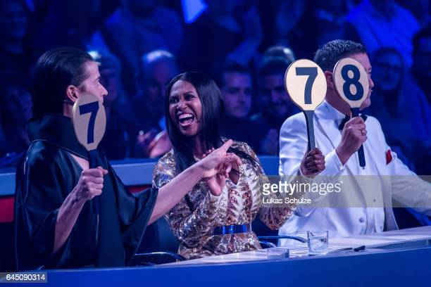 Roche Gonzales Motsi Mabuse and Joachim Llambi attend the preshow 'Wer tanzt mit wem Die grosse Kennenlernshow' for the television competition 'Let's...