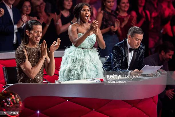 Roche Gonzales Motsi Mabuse and Joachim Llambi perform on stage during the semi final of the tenth season of the television competition 'Let's Dance'...
