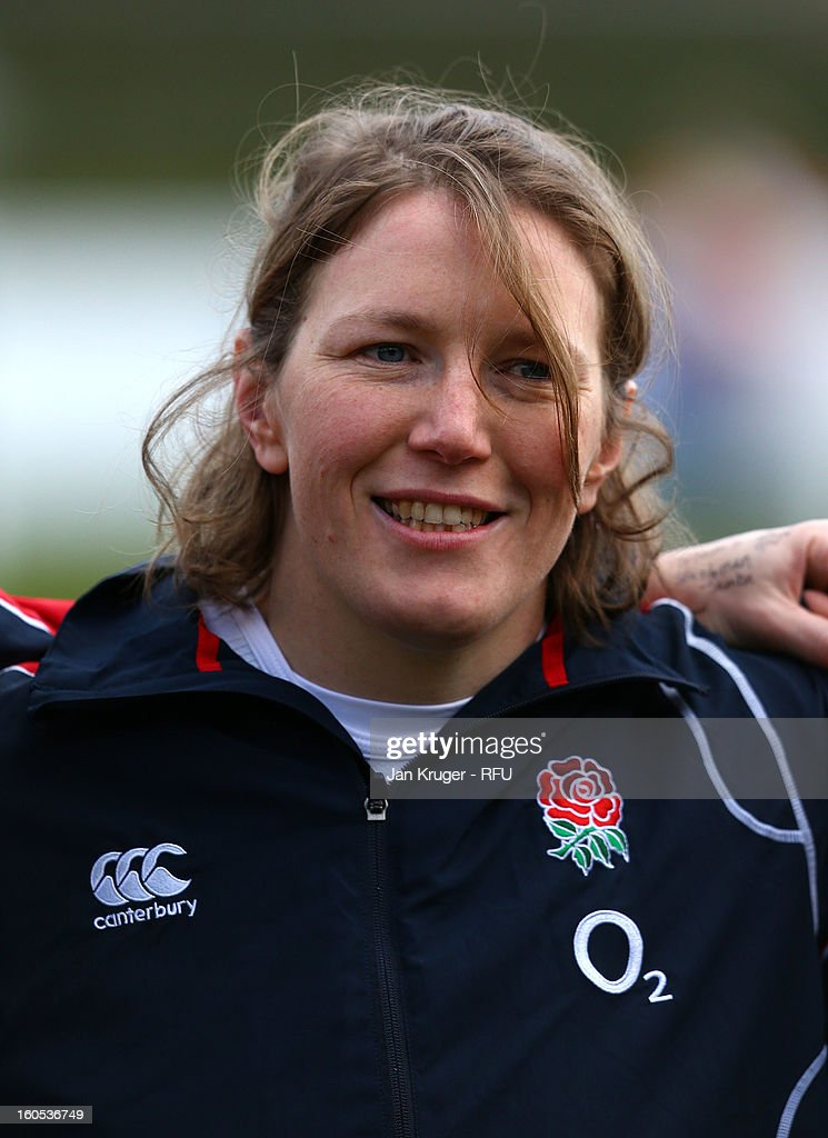 Rochelle Clark of England Women lines up for the anthem during the Womens Six Nations match between England and Scotland at Esher RFC on February 2, 2013 in Esher, England.