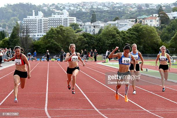 Rochelle Coster of Auckland celebrates finishing first in the Senior Women 100m Sprint during the 2016 National Track Field Championships on March 4...