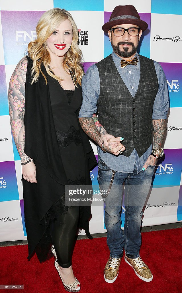 Rochelle Deanna Karidis (L) and recording artist A. J. McLean attend the 16th Annual 'Friends 'N' Family' Pre-GRAMMY Event at Paramount Studios on February 8, 2013 in Hollywood, California.