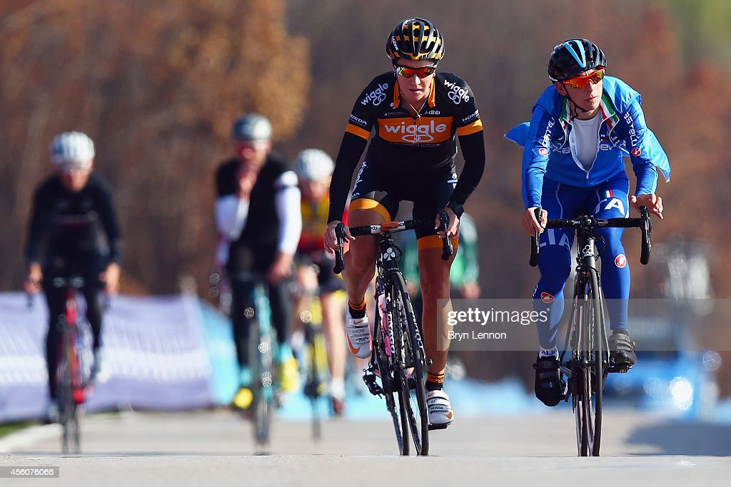 Rochelle Gilmore (l) rides with <a gi-track='captionPersonalityLinkClicked' href=/galleries/search?phrase=Giorgia+Bronzini&family=editorial&specificpeople=2501868 ng-click='$event.stopPropagation()'>Giorgia Bronzini</a> of Italy during training for the UCI World Road Race Championships on September 25, 2014 in Ponferrada, Spain.