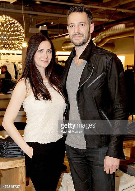 Rochelle Gores Fredston and Host Mike Rosenthal with PSLA attend the Saks / PSLA Denim Event at Saks Fifth Avenue Beverly Hills on March 20 2014 in...