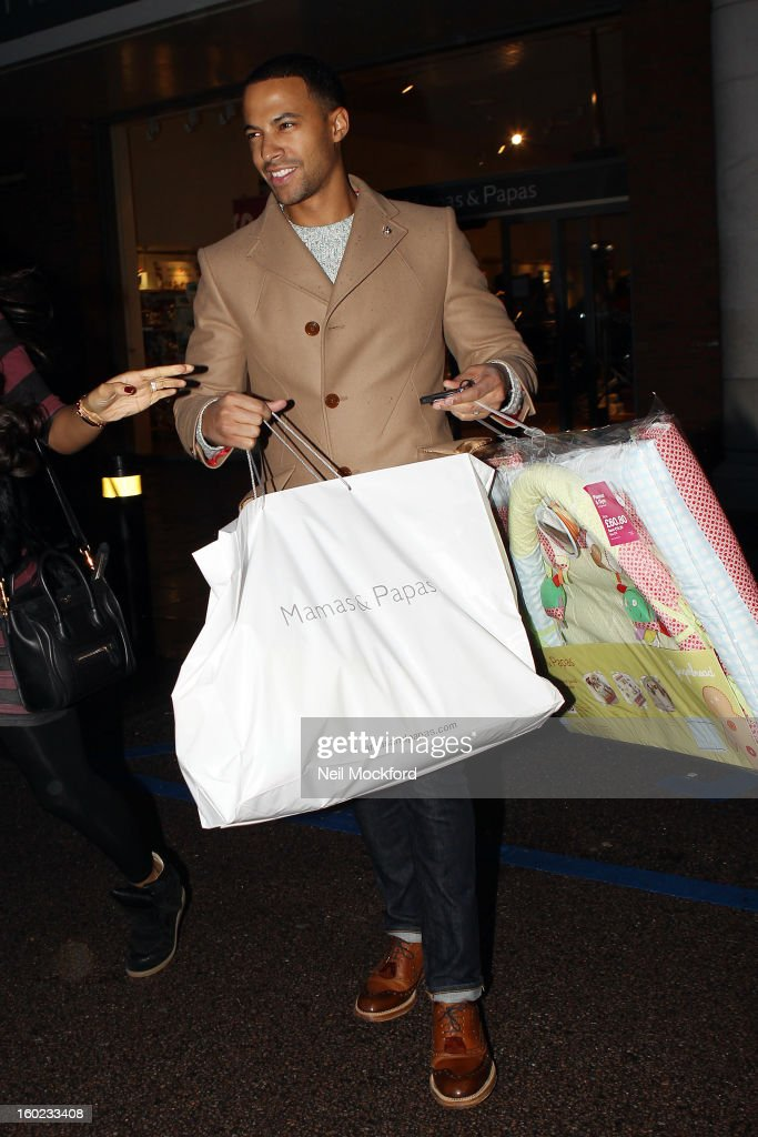 Rochelle Humes and <a gi-track='captionPersonalityLinkClicked' href=/galleries/search?phrase=Marvin+Humes&family=editorial&specificpeople=2887070 ng-click='$event.stopPropagation()'>Marvin Humes</a> are pictured shopping for baby items at Mamas and Papas on January 28, 2013 in Watford, England.