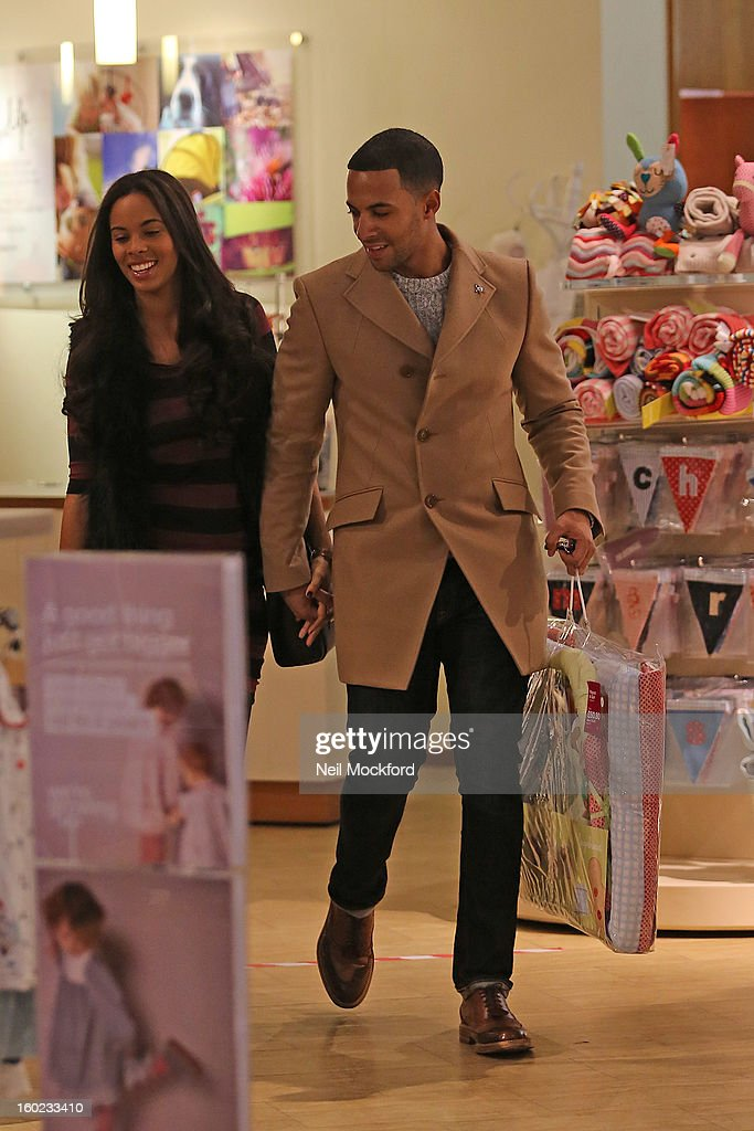 Rochelle Humes and Marvin Humes are pictured shopping for baby items at Mamas and Papas on January 28, 2013 in Watford, England.