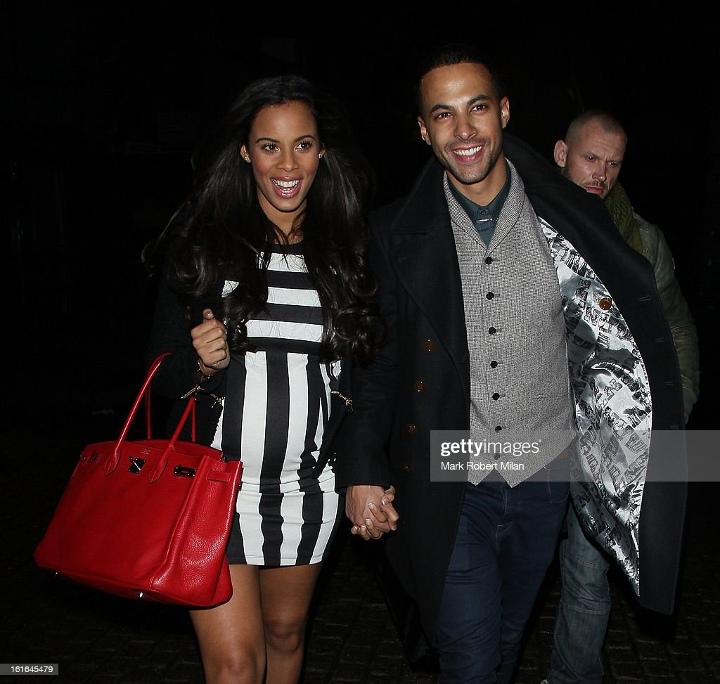 Rochelle Humes and <a gi-track='captionPersonalityLinkClicked' href=/galleries/search?phrase=Marvin+Humes&family=editorial&specificpeople=2887070 ng-click='$event.stopPropagation()'>Marvin Humes</a> at Gilgamesh restaurant for Aston Merrygolds birthday celebrations on February 13, 2013 in London, England.