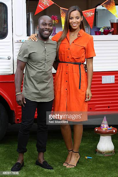 Rochelle Humes and Melvin Odoom at the X Factor auditions at Wembley Arena on July 16 2015 in London England