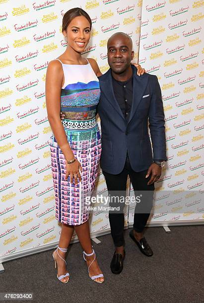Rochelle Humes and Melvin Odoom attend Frankie And Benny's Rays Of Sunshine Concert at Royal Albert Hall on June 7 2015 in London England