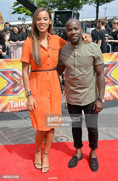 Rochelle Humes and Melvin Odoom attend the London auditions of The X Factor at SSE Arena on July 16 2015 in London England