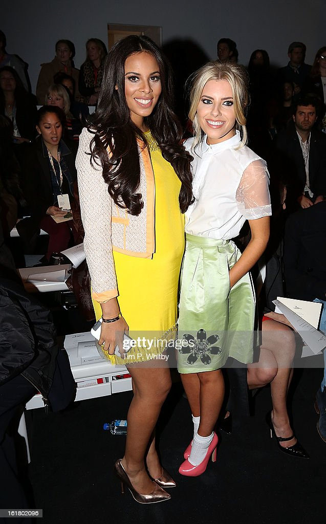 Rochelle Humes and <a gi-track='captionPersonalityLinkClicked' href=/galleries/search?phrase=Mollie+King&family=editorial&specificpeople=5522262 ng-click='$event.stopPropagation()'>Mollie King</a> attends the Issa London show during London Fashion Week Fall/Winter 2013/14 at Somerset House on February 16, 2013 in London, England.