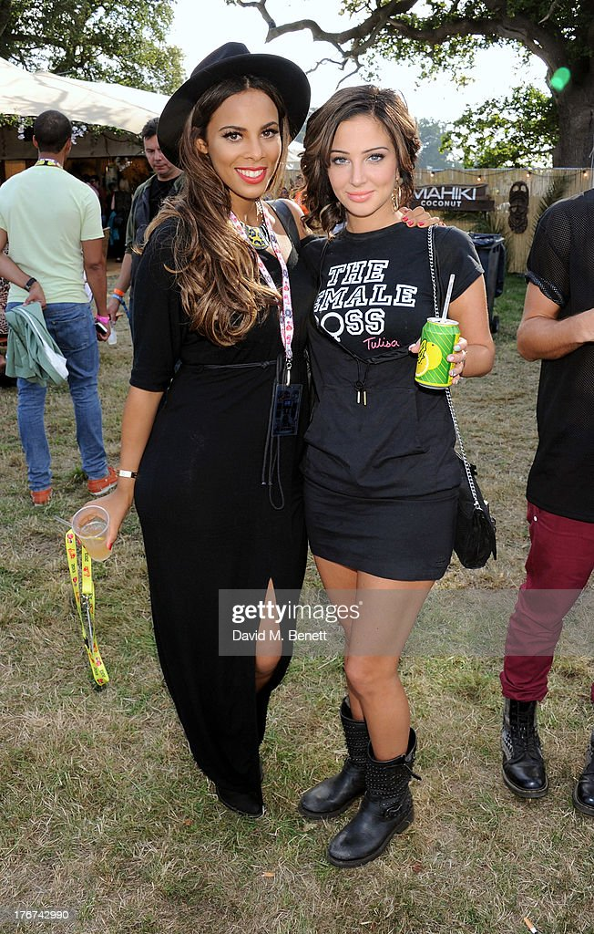 Rochelle Humes (L) and <a gi-track='captionPersonalityLinkClicked' href=/galleries/search?phrase=Tulisa+Contostavlos&family=editorial&specificpeople=6544720 ng-click='$event.stopPropagation()'>Tulisa Contostavlos</a> attend the Mahiki Coconut Backstage Bar during day 2 of V Festival 2013 at Hylands Park on August 18, 2013 in Chelmsford, England.