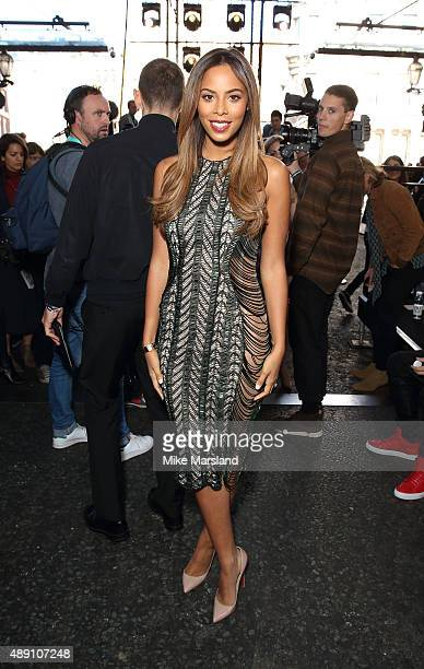 Rochelle Humes attends the Julien Macdonald show during London Fashion Week Spring/Summer 2016/17 on September 19 2015 in London England