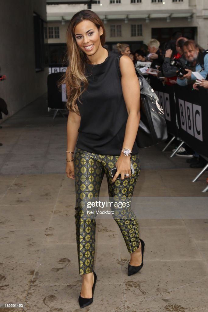 Rochelle Humes from the Saturdays seen at BBC Radio One on October 22, 2013 in London, England.