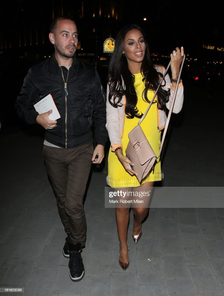 Rochelle Humes is pictured arriving at at the ME hotel during London Fashion Week on February 16, 2013 in London, England.