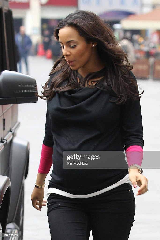 Rochelle Humes is signted as her husband Marvin Humes (not pictured) arrives for his 1st Day at work at Capital FM on March 28, 2013 in London, England.