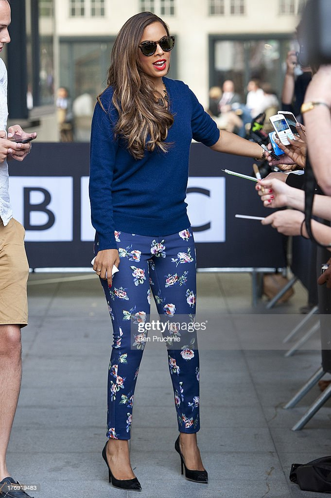 Rochelle Humes of The Saturdays sighted at BBC Radio 1 on August 19, 2013 in London, England.