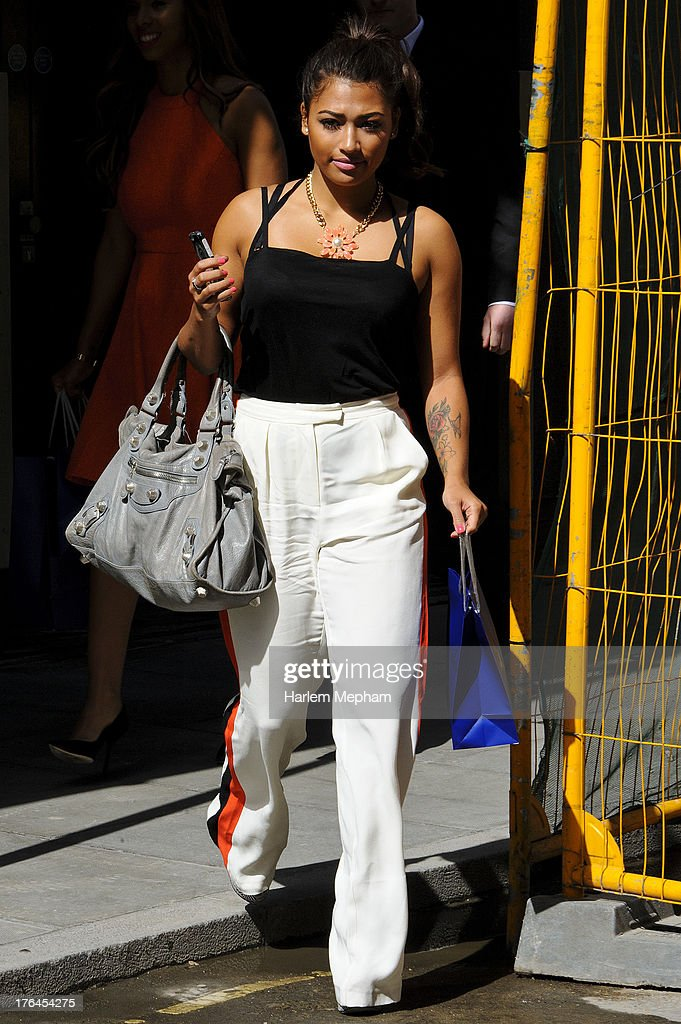 Rochelle Humes of 'The Saturdays' sighted on Oxford Street on August 13, 2013 in London, England.