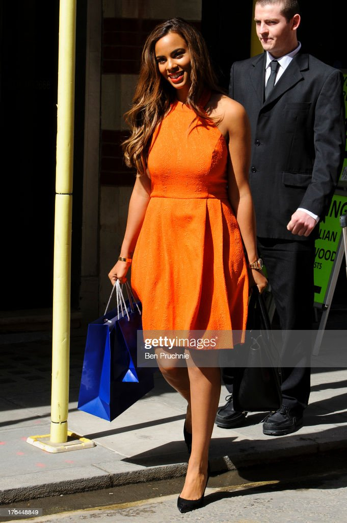 Rochelle Humes of The Saturdays sighted shopping on Oxford St on August 13, 2013 in London, England.