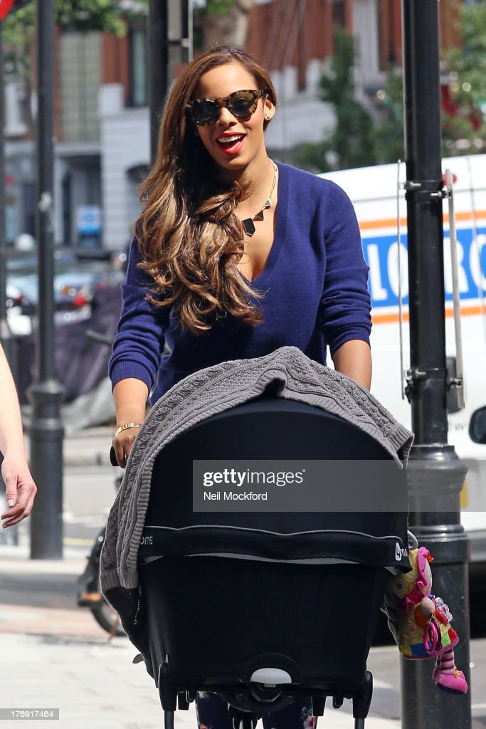 Rochelle Humes seen arriving at BBC Radio One on August 19, 2013 in London, England.