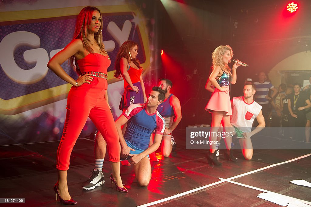 Rochelle Humes, Una Healy and Mollie King of The Saturdays perform at G-A-Y on October 12, 2013 in London, England.